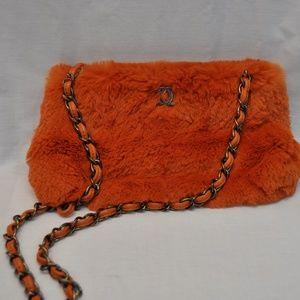 Chanel Lapin Chain Orange Rabbit Fur Shoulder Bag